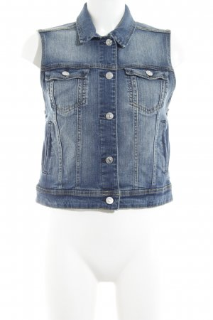 Mango Denim & Tees Denim Vest dark blue-natural white washed look