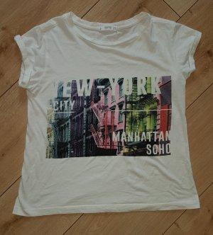 MANGO Denim & Tees Shirt New York Manhattan City Tee Stadt Oversized Weiss Bunt Größe S 36