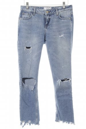 Mango Denim & Tees Straight-Leg Jeans stahlblau Destroy-Optik