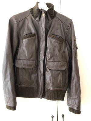 Mango Leather Jacket dark brown-brown