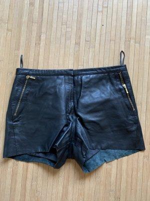 Mango Echtleder Shorts schwarz 34