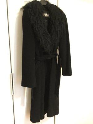 MANGO eleganter Mantel Abendmantel Wolle schwarz GR 38