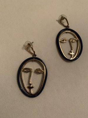 Mango Face Ohrringe Ohrhänger Gesichter in Gold und Blau
