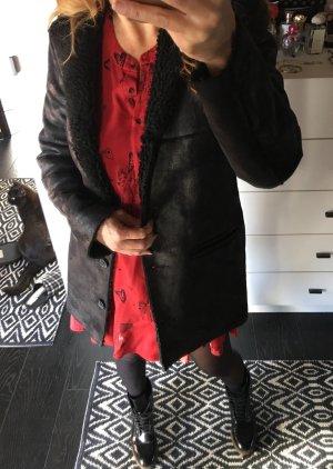 Mango Fake Fur shearling Leder Teddy Fell Mantel Jacke zara H&M 36 38 S M schwarz