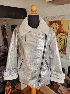 Mango Fake Fur Webpelz Winter Jacke Silber NEU