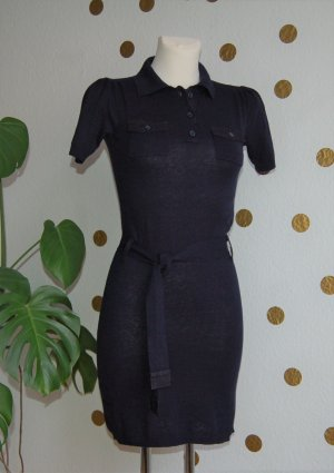 MANGO Feinstrickkleid Kleid Polokleid Marine