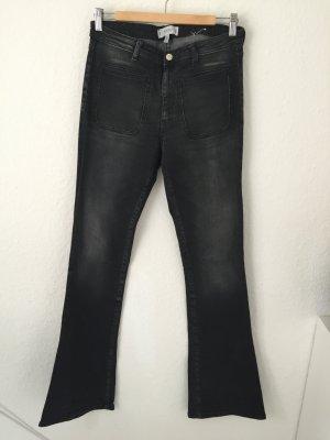 Mango flared Jeans Grau schwarz