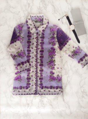 MANGO Florale Bluse S 34 36 XS Lila Rosen Muster Chiffon Transparent