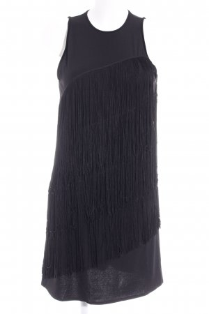 Mango Fringed Dress black retro look