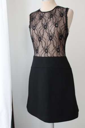 Mango Kanten jurk zwart-nude