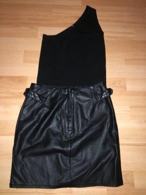 Mango Suit Camisa de un solo hombro negro