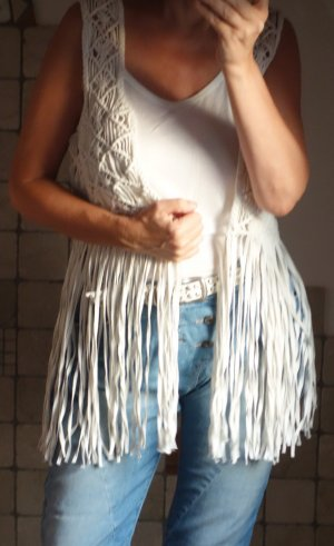 Mango Fringed Vest natural white cotton