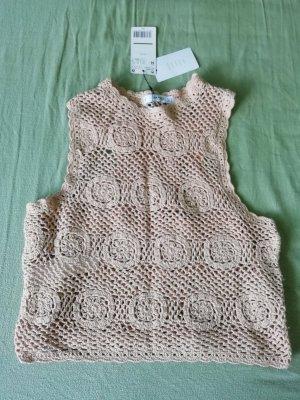 Mango Crochet Top nude