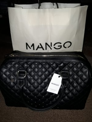 Mango Handtasche Bowlingtasche schwarz gold gesteppt