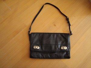 Mango Handtasche Clutch schwarz aus Leder