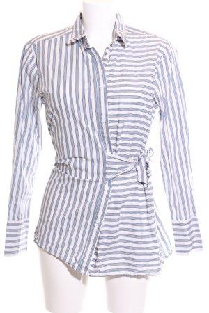 Mango Hemd-Bluse blau-weiß Streifenmuster Elegant