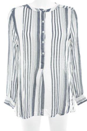 Mango Hemd-Bluse wollweiß-stahlblau Streifenmuster Casual-Look