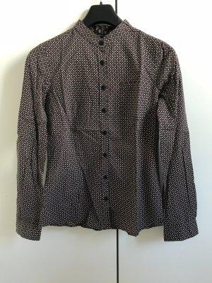 Mango Chemise à manches longues brun-noir coton