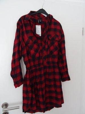 Mango Abito blusa camicia nero-rosso