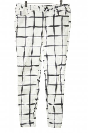 Mango High Waist Trousers white-black check pattern casual look