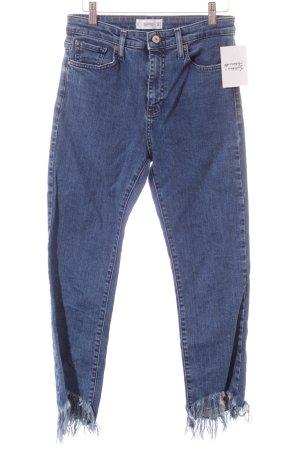 Mango High Waist Jeans blau Destroy-Optik