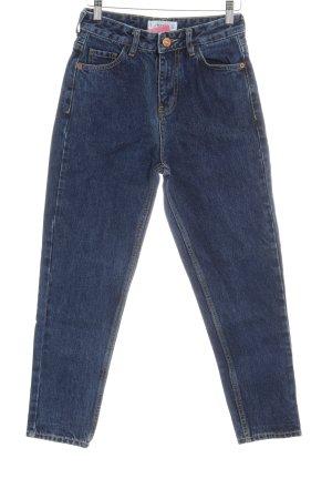 Mango Hoge taille jeans donkerblauw simpele stijl