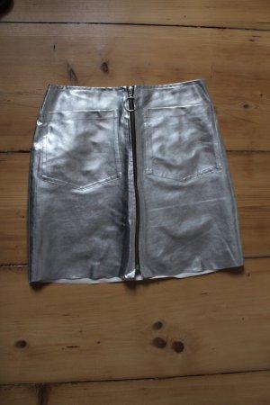 Mango Falda de talle alto gris claro