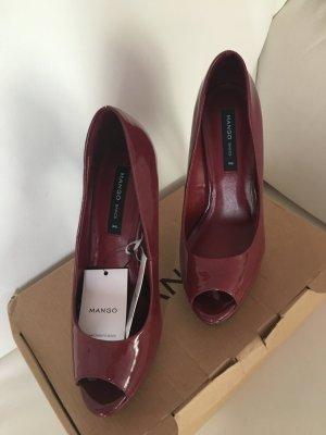 Mango Highheels High Heels Schuhe Gr 36 Lackleder Weinrot