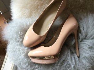 Mango Touch High Heels camel imitation leather
