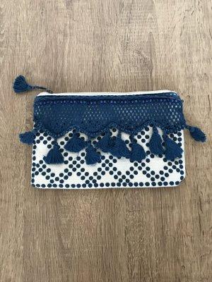 Mango Hippie Clutch Tasche Quasten Nude Blau