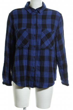 Mango Camisa de leñador azul-negro estampado a cuadros estilo boyfriend