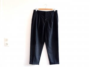 Mango Hose Gr. 40 M L blau grau karo Bundfalten Anzughose Stoffhose