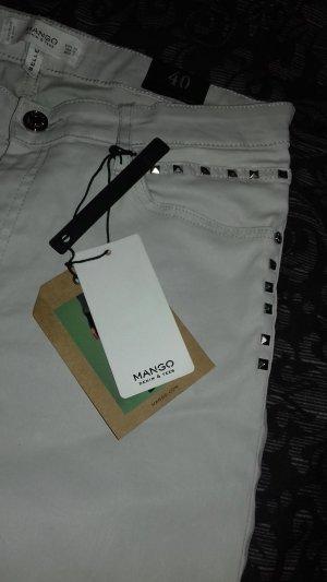 Mango Hose Nieten hellgrau beschichtet