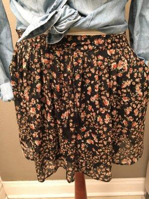 Mango hübscher Chiffon Rock Blumen schwarz S