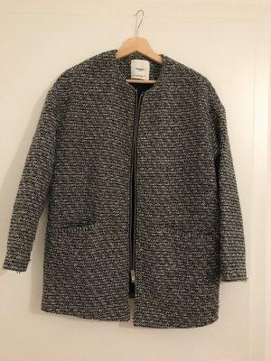 Mango Jacke Strickjacke grau schwarz weiß Cape