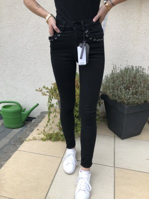 Mango High Waist Jeans black