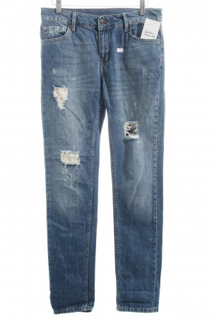 Mango Jeans blau-wollweiß Destroy-Optik