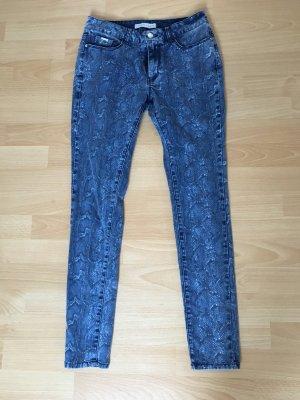 Mango Jeans Greta 38 S blau weiß Schlangen Print Röhre Röhrenjeans Hose