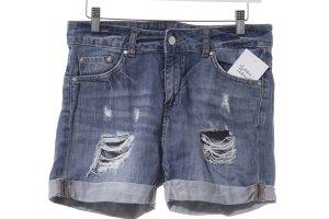 Mango Jeans Hot Pants blau Destroy-Optik