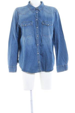 Mango Jeans Jeanshemd stahlblau Jeans-Optik