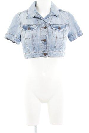Mango Jeans Jeansjacke himmelblau-wollweiß Used-Optik