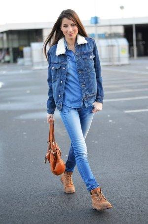 Mango Jeans Jeansjacke stahlblau-wollweiß Casual-Look