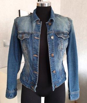 Mango Jeans Jeansjacke Stretch Tailliert XS blau used Kupferfarbene Details