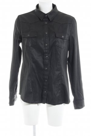 Mango Jeans Langarmhemd schwarz Casual-Look
