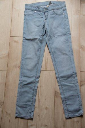 Mango Jeans S 38 Damen hell blau Röhrenjeans washed Hose Hebst Blogger gerade