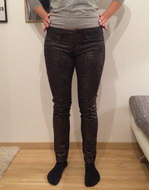 Mango Jeans schwarz gold Schlangenmuster Damen Damenjeans