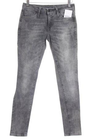 Mango Jeans Skinny Jeans grau-hellgrau Used-Optik
