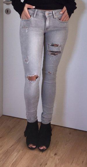 Mango Jeans, Style grau, used Look, destroyed Skinny 36