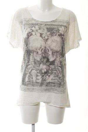 Mango Jeans T-Shirt creme-hellgrau Blumenmuster Casual-Look