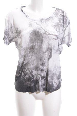 Mango Jeans T-Shirt weiß-schwarz Motivdruck Casual-Look